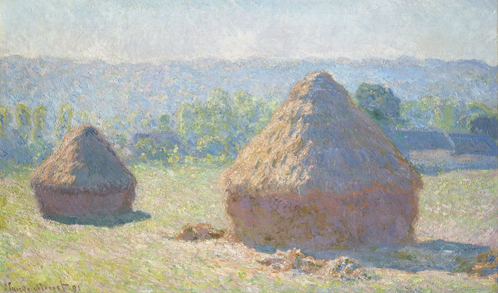 Grainstacks at End of Summer Morning Effect by Claude Monet
